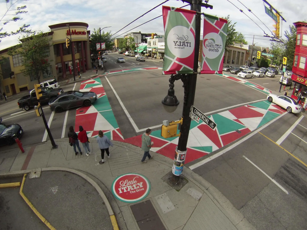 TrafficPatterns deorative saphalt crosswalk commercial drive vancouver bc canada