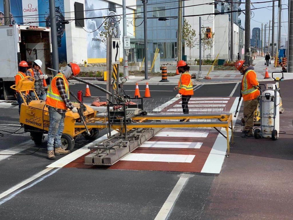 trafficpatternsxd stamped asphalt installation toronto