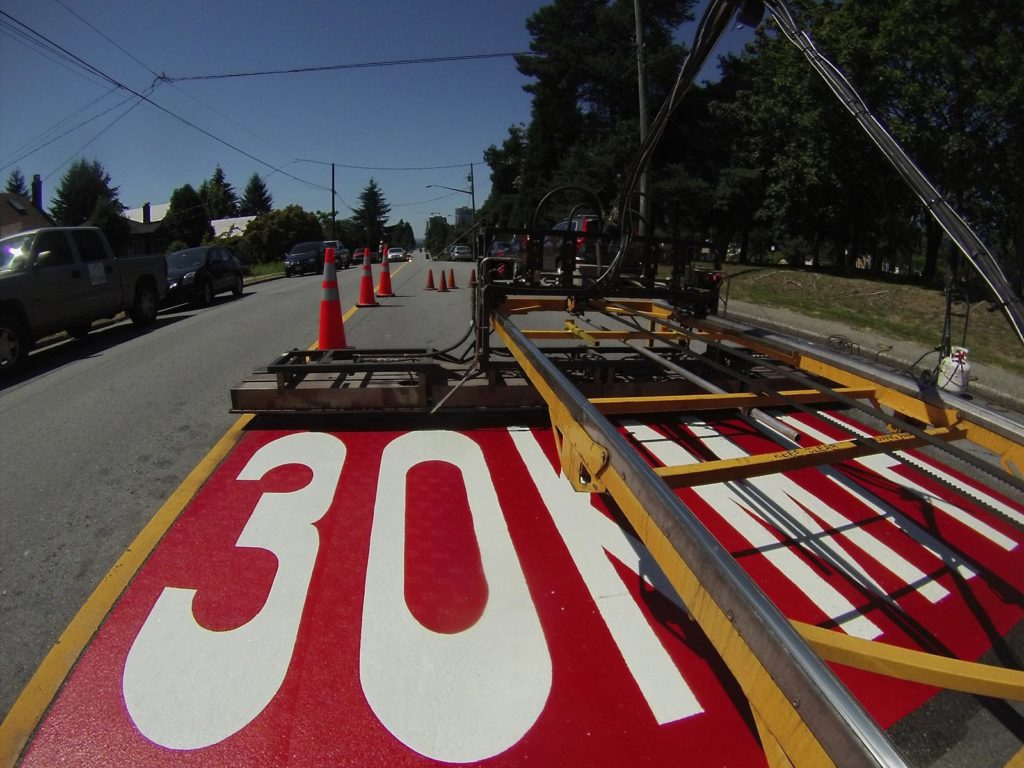 TrafficPatterns on asphalt traffic calming device