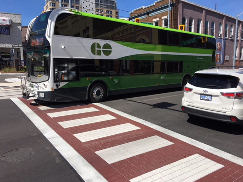 TrafficPatternsXD crosswalk in Waterloo Ontario Canada depicting a go doubble decker bus