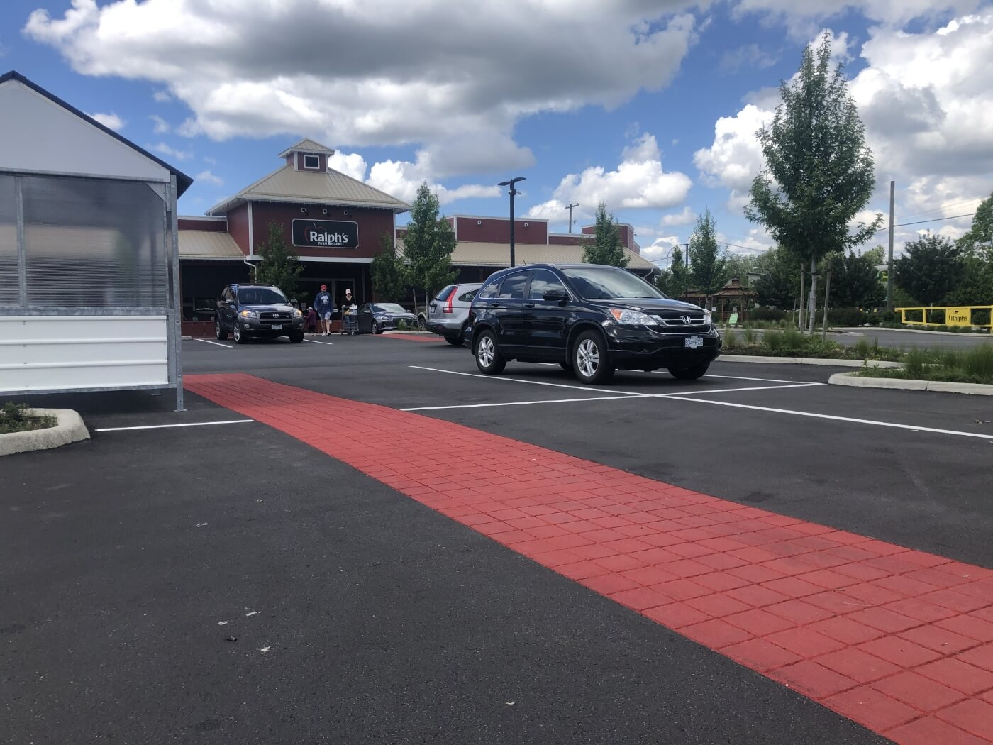 Ralphs Farm Market Parking Lot with StreetPrint Decorative Stamped Asphalt in Langley BC Canada