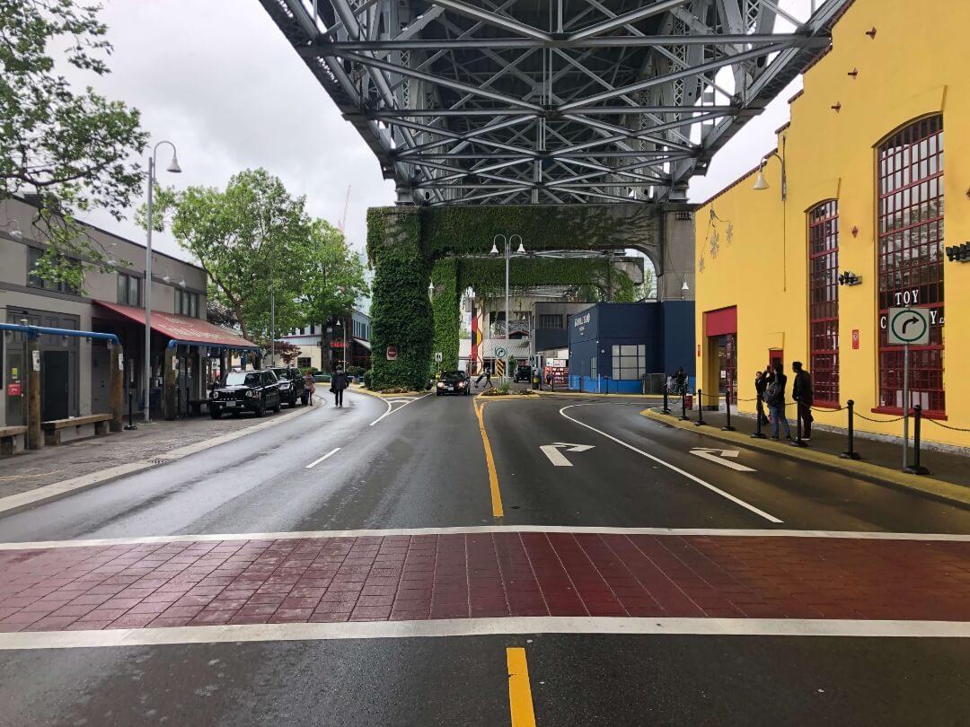 decorative crosswalk with stamped asphalt at granville street bridge