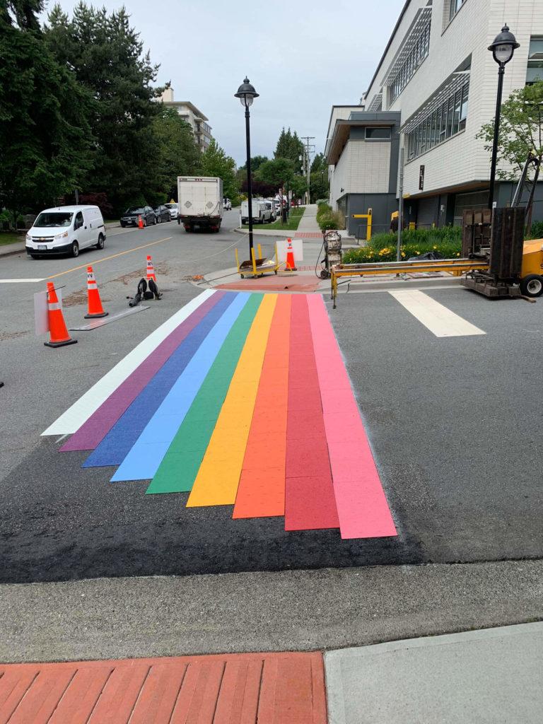 rainbow asphalt crosswalk