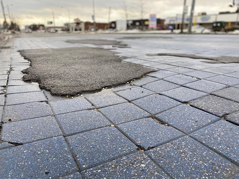 decrative asphalt closeup